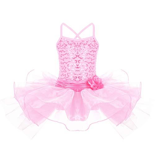 IBTOM CASTLE Mädchen Ballettanzug Ballett Tütü Trikot Anzug Ballettkleid Tanz Kostüm Leotard Turnanzug Ballettkleidung Verkleidung Rosa 4-5 (Kostüm Castle)