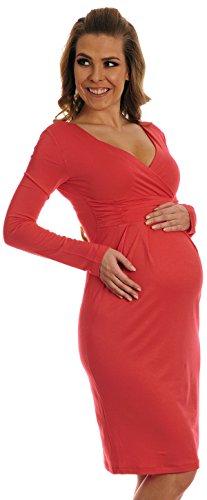 Happy Mama femme maternité robe de grossesse manches longues cache-coeur 285p Corail
