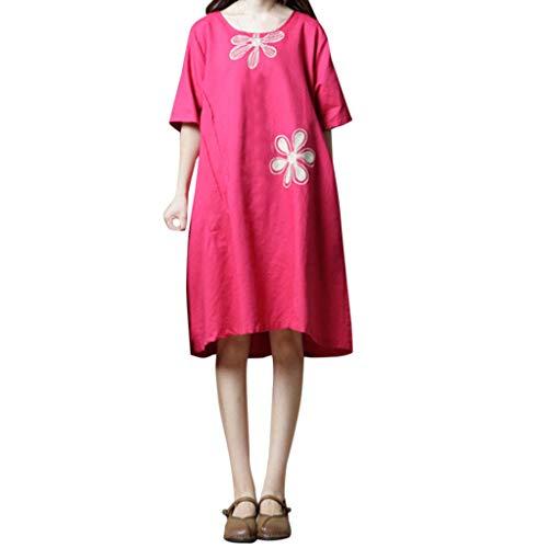 MAYOGO Kleid Damen Sommer Knielang Olive Halbarm Blumen Elegant Schick Midikleid Casual Locker O Neck Street Wear Büro Kleid mit ()