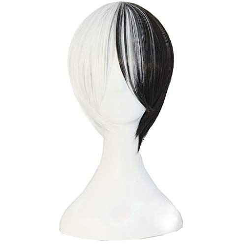 Parrucca anime il proiettile rompe la parrucca cos parrucca cosplay bicolore in bianco e nero caratteri comici di stile diverso temperamento unico