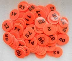 Arfa- Orange - Plastic Token/Coins with Numeric Numbers 1 to 100, Pack of 100 Coins.