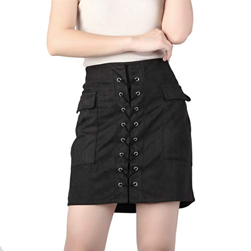 Mode Frauen Herbst Schnürschuh Leder Wildleder Bleistift Rock Kreuz Hohe Taille Reißverschluss Split Bodycon Short Mini Röcke über dem Knie - Schwarz L