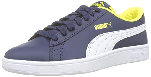 Puma Unisex-Kinder Smash V2 L Jr Sneaker, Blau (Peacoat-Puma White-Blazing Yellow), 36 ()