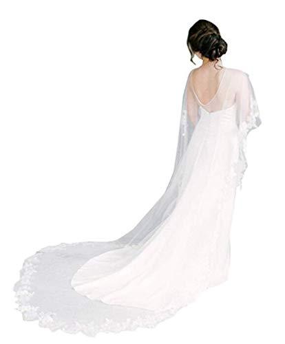 Meibida coprispalle da sposa in pizzo da sposa con scialle da sposa e da sposa (avorio)