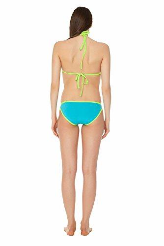 glidesoul Damen 0,5mm Colour Blocking Bikini türkis - Bright Cyan/Lemon