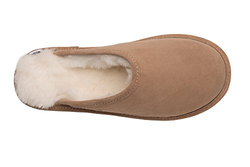 Pantofole Donna Pelle Naturale di Pecora Scape per Casa Imbottitura Calda Lana D68P Beige/Bianco