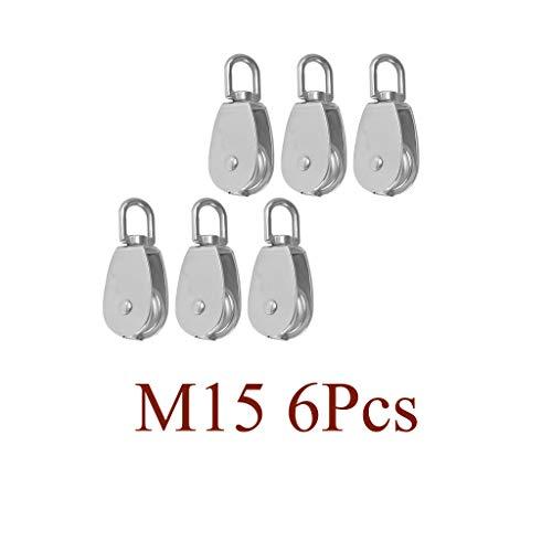 H HILABEE 6 Pcs 15mm Poleas de Bloque de única en Plata Acero Inoxidable 304, Longitud Total 60 mm