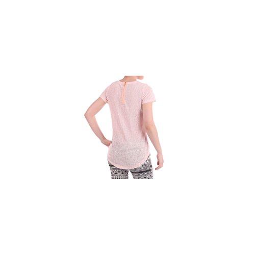 La Modeuse - T-shirt à manches courtes orné d'un coeur à l'avant composé de strass dorés Rose Fluo