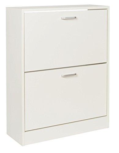 Ts-ideen scarpiera salvaspazio 81x63 cm in bianco stile moderno con due scomparti ad anta basculante