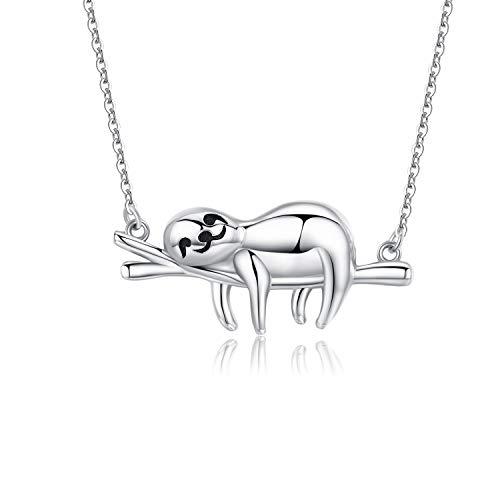 Sterling Silber Lächeln Faultier Halskette, CHENGHONG Lustige Einzigartige Neuheit Süße Tier Anhänger für Frauen,Beste Freunde Geburtstags Geschenke für ihre Du Musst Dich Beruhigen