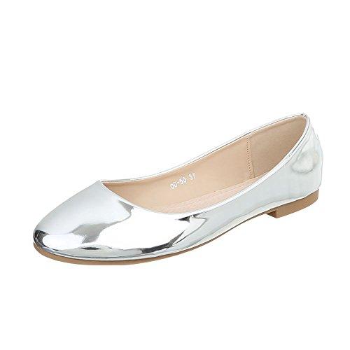 Scarpe da donna Sneaker piatto Sneakers low Ital-Design argento OD-50