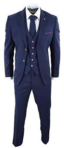 House Of Cavani Herrenanzug 3 Teilig Blau 1920 Vintage Retro Peaky Blinders Stil (Männer 1920 Anzug)