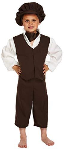 Fancy Me 5 Stück Jungen Oliver Twist Schlecht Viktorianischer Bengel Bauer Büchertag Kostüm Kleid Outfit 4-12 Jahre - Schwarz, 7-9 - Oliver Twist Kostüm