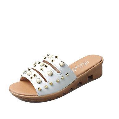 zhENfu Donna Sandali Estate similpelle outdoor Abbigliamento Sportivo Split Sole imitazione perla rivetto arrossendo Rosa Bianco Beige a piedi White