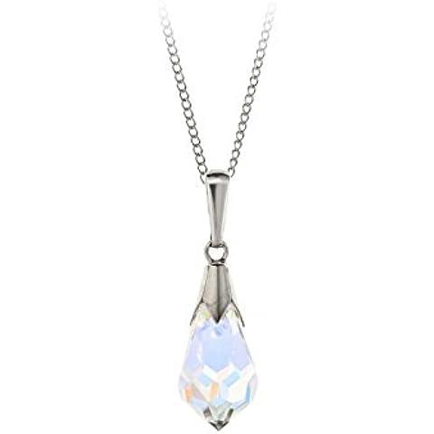 9ct oro bianco pendente a goccia in cristallo Aurora Borealis collana/catena con 16