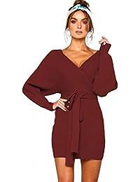 3329f456114a HaoHuodress Donna Vestito a Maglia Wrap Dress Scollo a V Manica Lunga Senza  Schienale con Cintura