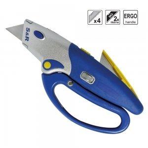 Preisvergleich Produktbild S&R Automatisches Profi Teppichmesser 175mm, SK5, Wechssel per Knopfdruck, Handschutz, 5 Klingen