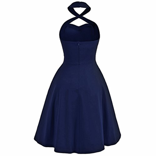 Shanxing Damen Neckholder Kleid Rockabilly 1950er Cocktail Party Vintage Kleider Marine Blau