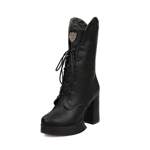 AllhqFashion Damen Hoher Absatz Eingelegt Rund Zehe Weiches Material Stiefel, Schwarz, 38