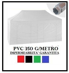 Gazebo pieghevole bianco alluminio esagonale 40mm 3x4.5 + 4 teli laterali pvc 350 g metro
