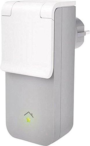 innogy SE Smart Home Zwischenstecker (außen) / Steckdosensteuerung; zur Steuerung der elektrischer Geräte im Außenbereich, spritzwassergeschützt, einfache Installation, auch für Feuchträume, 10267414 - Weiße Wand Steuert Vier
