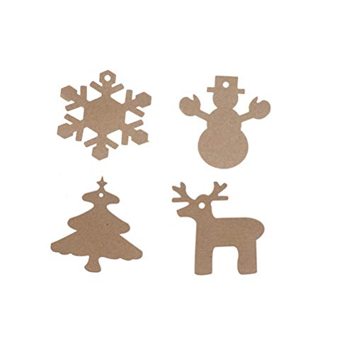 Pendant & Drop Ornaments - 100pcs Paper Tag With 20m Rope Christmas Gift Parcel Tags Xmas Tree Snowflake Deer Snowman Scalloped - Ornaments & Drop Pendant