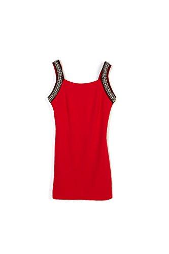 Top Donna Lungo con Borchie e Pietre Applicate- Abbigliamento Donna- Made in Italy Rosso