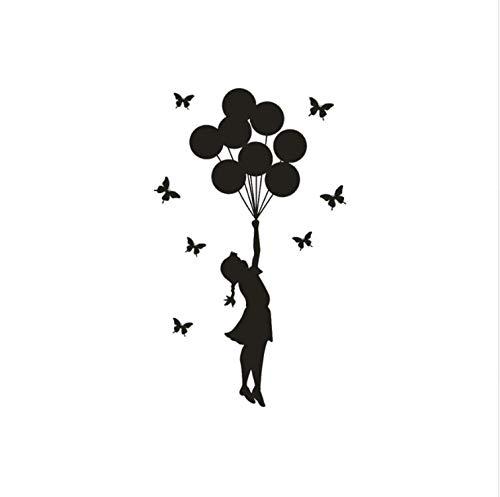 dajianyihao Die Ballon Mädchen Brief Wandaufkleber Für Kinderzimmer Mädchen Dekor Wohnzimmer PVC DIY 35Cmx60Cm - Brief X Ballon