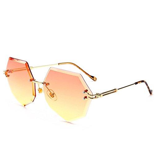 xuexue Individualität Brille Mode Polygonal Achteckig Rahmenlos Farbverlauf Ozean Stück Farbig Sonnenbrille Männlich Brille Mode Gläser,G