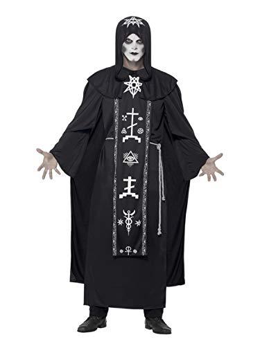 Kostüm Satanist - Halloweenia - Herren Männer schwarzer Magier Sektenführer Satanisten Priester Kostüm, Kapuzenrobe und Gürtel, perfekt für Halloween Karneval und Fasching, One Size, Schwarz