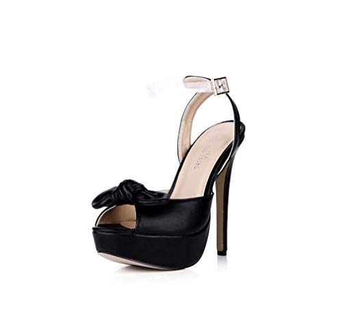 GHFJDO Damen Fersen, Sommer PU Plattform Kleid Sandale, Klare High Heels Schuhe Damen Pole Dance Pumps Sandalen,Black,40EU