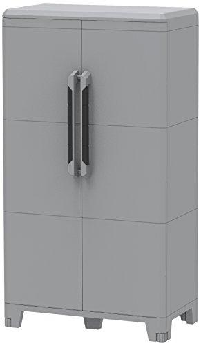 Terry Transforming Modular 3 - Armario multifuncional de plástico, con dos puertas, de color gris, 78x 43,6x 143cm