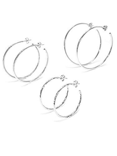 Linea Italia gioielli - Set cerchi in Argento 925 rodiato - 3 paia orecchini donna - Made in Italy