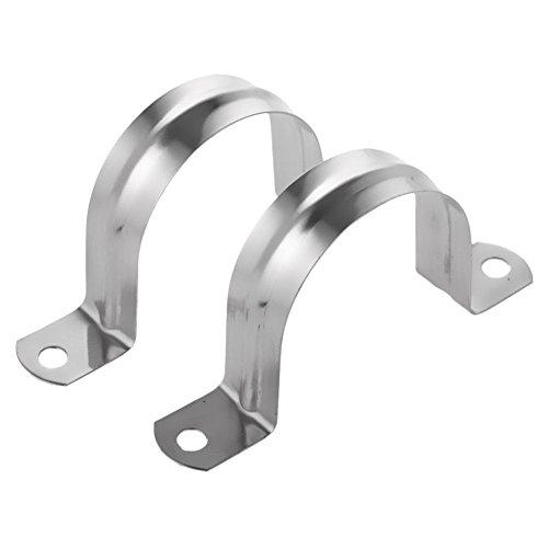 SODIAL 2 abrazaderas de tubo en forma de U de acero inoxidable, medio tubo para la abrazadera del tubo de los accesorios de tuberia -80mm