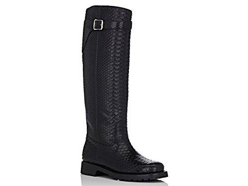Saint-Laurent-knee-high-boots-in-black-Python-skin-Model-number-427222-ESK00-1000
