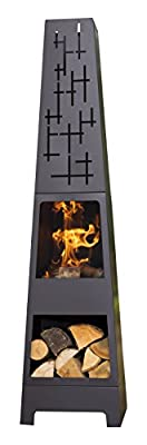 Oxford 56252 Barbecues Cherwell Contemporary Chiminea, Black, 36 x 36 x 151 cm
