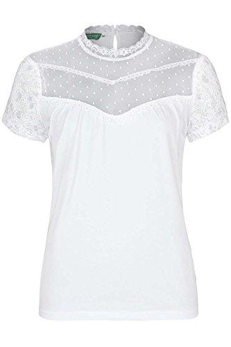 Country Line Damen T-Shirt mit Spitze weiß, Weiß, 34 (Über T-shirt Line)