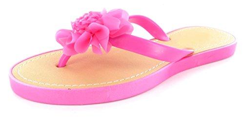 Infradito da donna e ragazza, con fiore, ideale per la spiaggia, misura: 36-41 Fushia