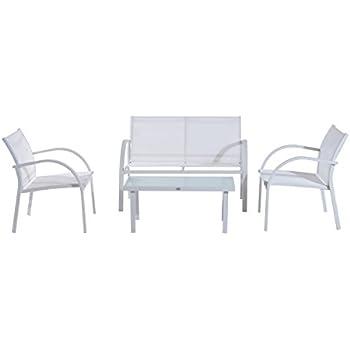 Ensemble salon de jardin design 4 places : canapé, 2 fauteuils et ...