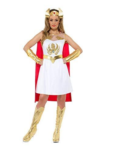 Fancy Ole - Damen Frauen Frauen glänzendes Glitter She-Ra Superheldinnen Kostüm mit Kleid, Umhang, Kopfschmuck, Arm-und Beinstulpen, perfekt für Karneval, Fasching und Fastnacht, M, Weiß