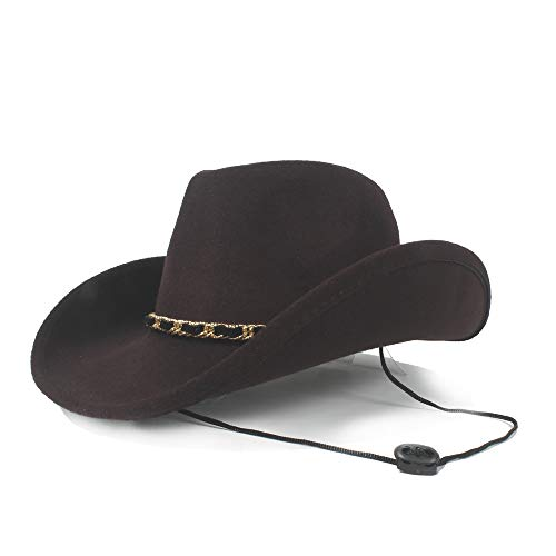 Trendy Frauen Männer Wolle Hohl Western Cowboyhut Für Gentleman Krempe Sombrero Fedora Cap Papa Hut (Farbe : Braun, Größe : 56-59cm)