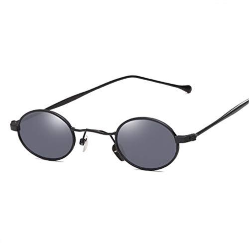 GJYANJING Sonnenbrille Runde Sungalsses Frauen Männer Metallrahmen Spiegel Sonnenbrille VintageMännlich Schwarz Brille Retro Brille Uv400