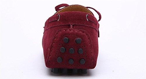 iLory Chaussures Bateau pour homme en suédine Mocassins Pantoufles de Conduite,Men's-dérapant sur corde Nœud Plates Loafers Wine Red