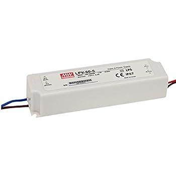 Bloc d'alimentation pour éclairage LED 60W 12V 5A; MeanWell, lpv-60de 60–12–Découpage