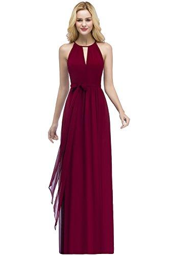 MisShow Damen Elegant Unregelmäßig Brautjungfern Kleid Neckholder Chiffon Abendkleid Maxilang 32-46