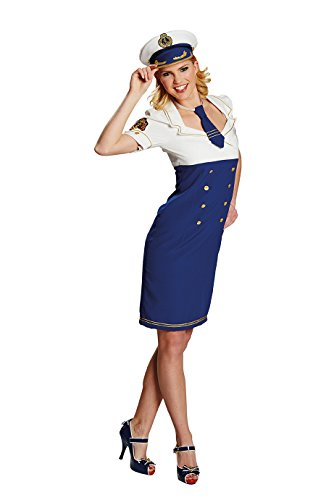 Starsister blau Damen Kostüm Kleid Sexy Kapitänin Karneval ()