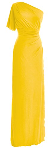 MACloth Women One Shoulder Jersey Long Formal Evening Dress Wedding Party Gown Gelb