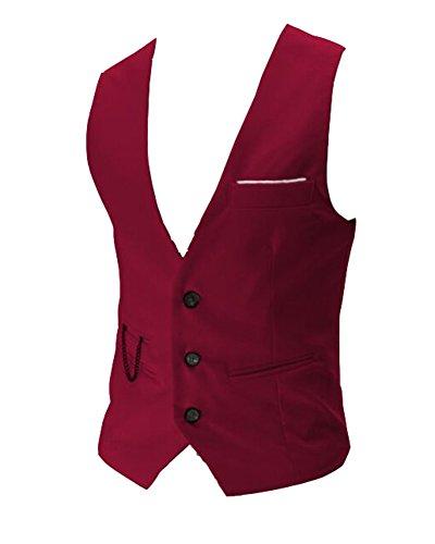 Gilet De Costume Pour Homme Gilet Mariage Casual Business Veste Gilet Sans Manche rouge S
