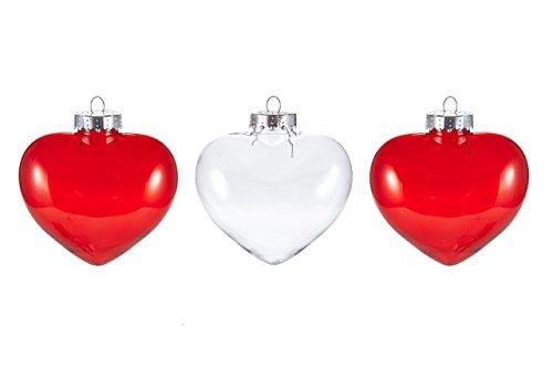 HEITMANN DECO de décoration Cœur, Assorties, Plastique, Rouge/Transparent, 30,2 x 6,4 x 11 cm, de 3 unités