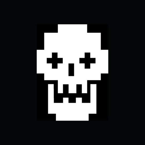 8 BIT Skull Sticker Cool Vinyl Decal Nerd Geek Video Game Retro Graphic Bones S5 - Die Cut Vinyl Decal for Windows, Cars, Trucks, Tool Boxes, laptops, MacBook - virtually Any Hard, Smooth Surface